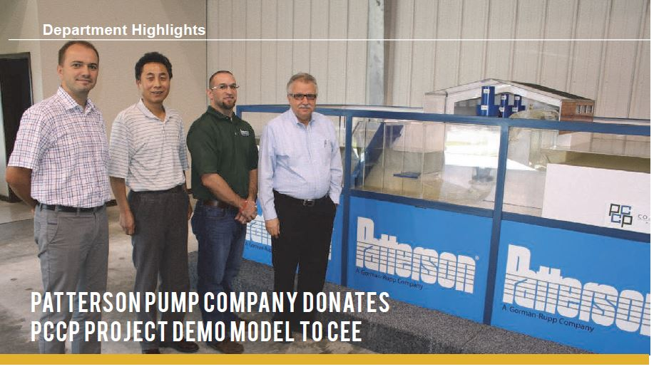 PATTERSON PUMP COMPANY DONATES PCCP PROJECT DEMO MODEL TO CEE ETEC HYDRAULICS AND WATER DISTRIBUTION LABORATORY